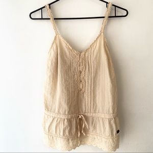 Aritzia TNA Lace Tank with Button Detail in Beige